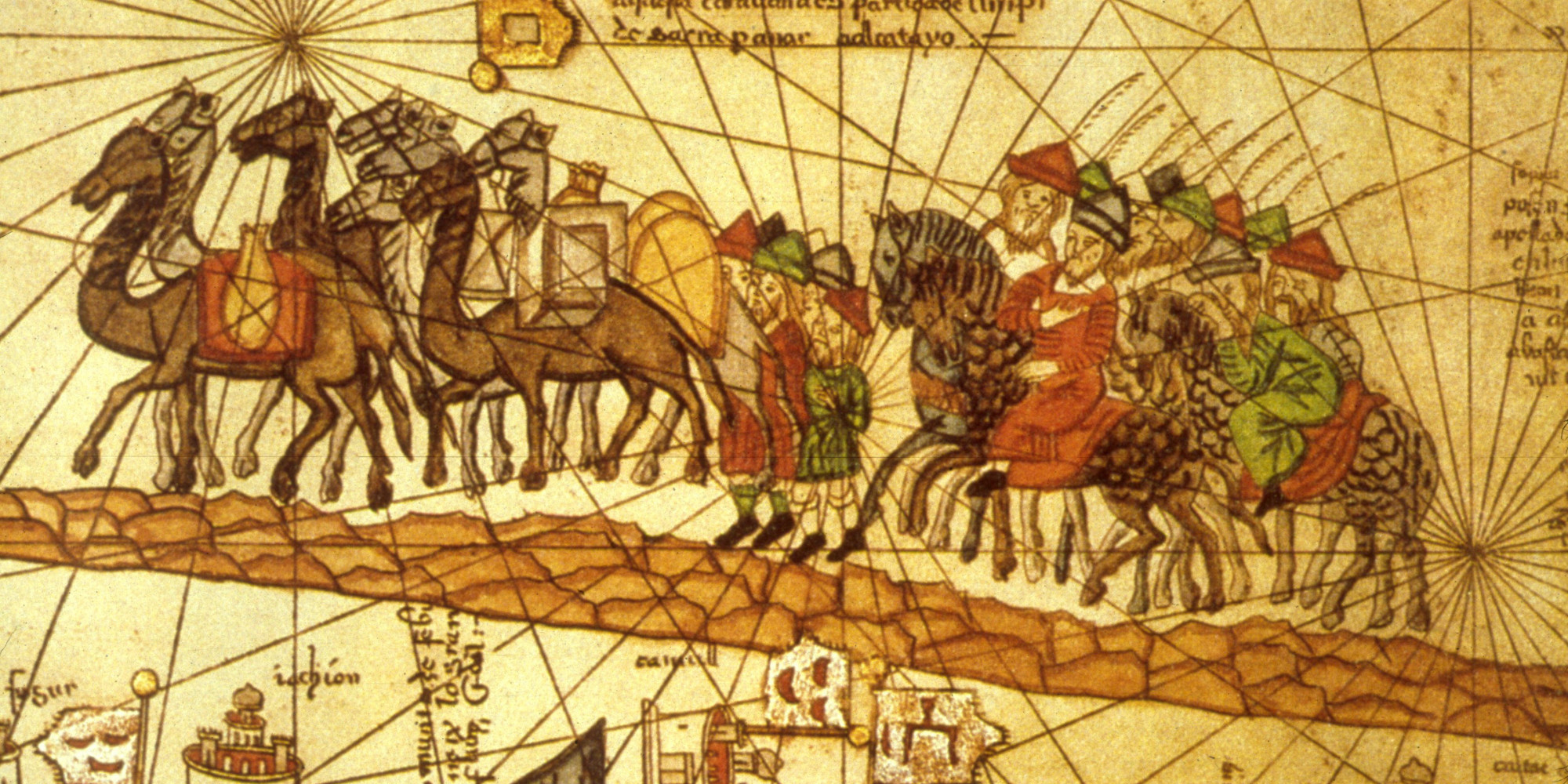 Illustrated map depicting the journey of the Venetian merchant Marco Polo (1254 - 1324) along the silk road to China. (Photo by MPI/Getty Images)